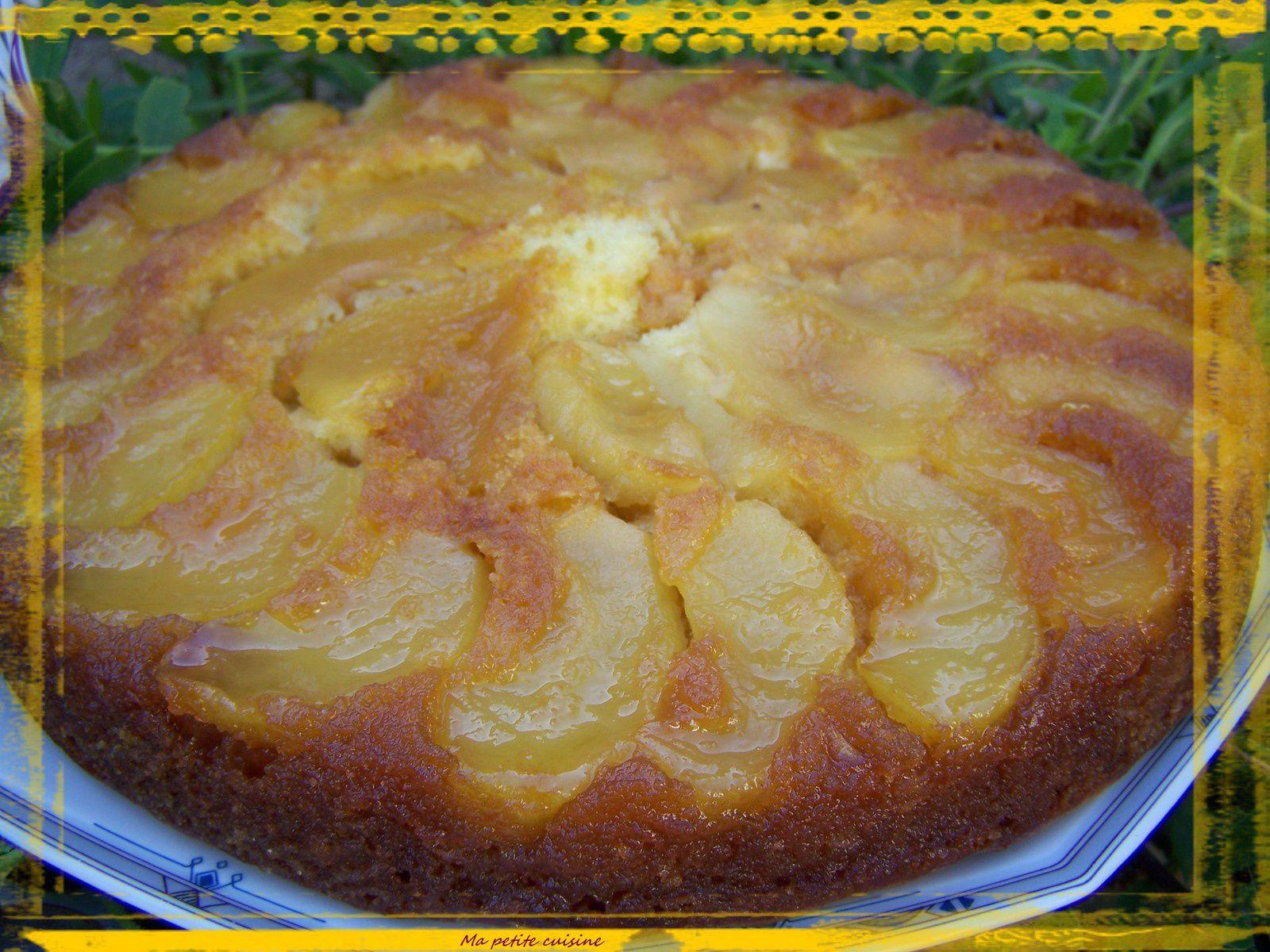 Gateau renversé aux pommes caramelisées au jus d'orange