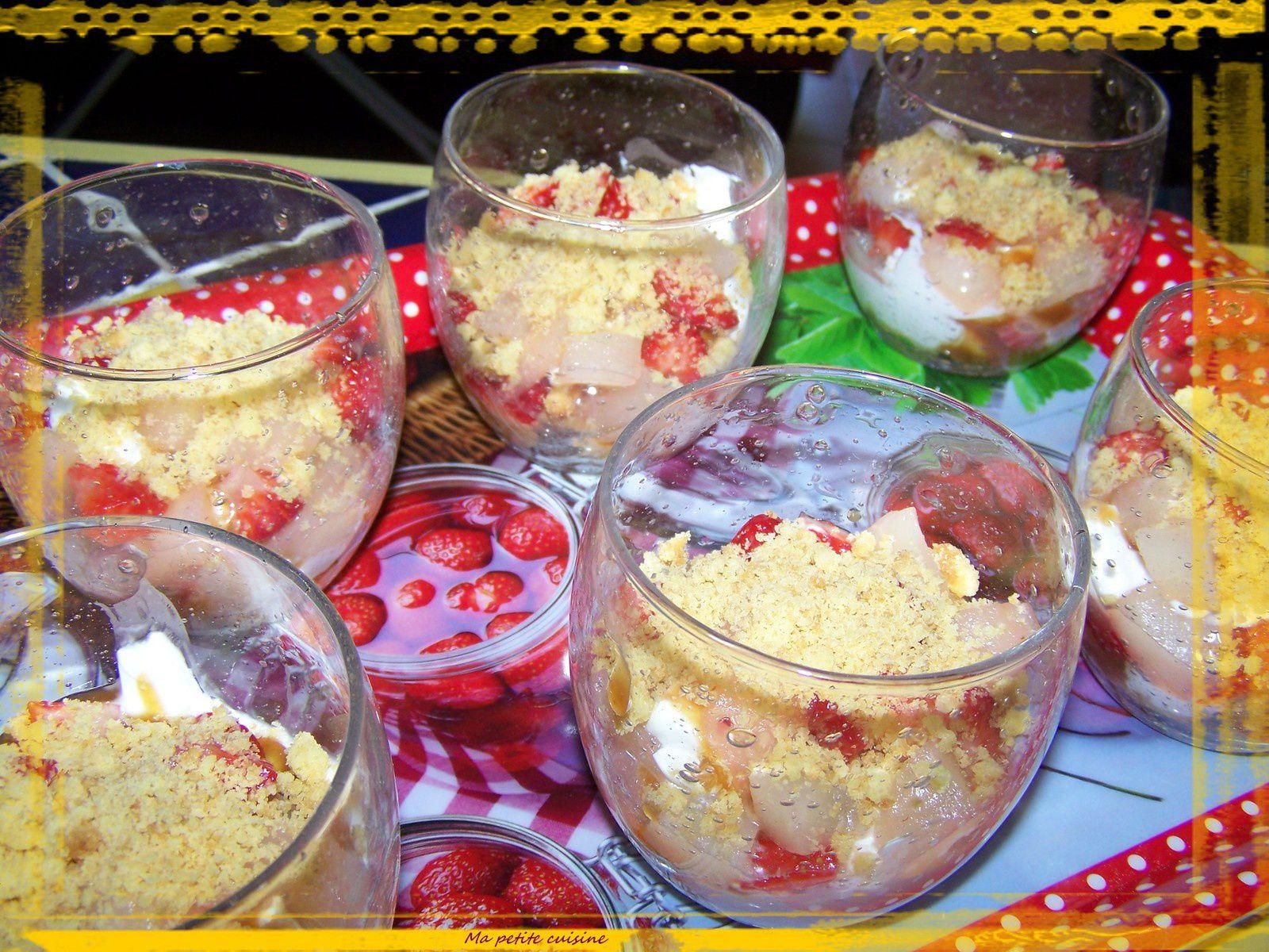 Trifles fraise et poire au caramel au beurre salé