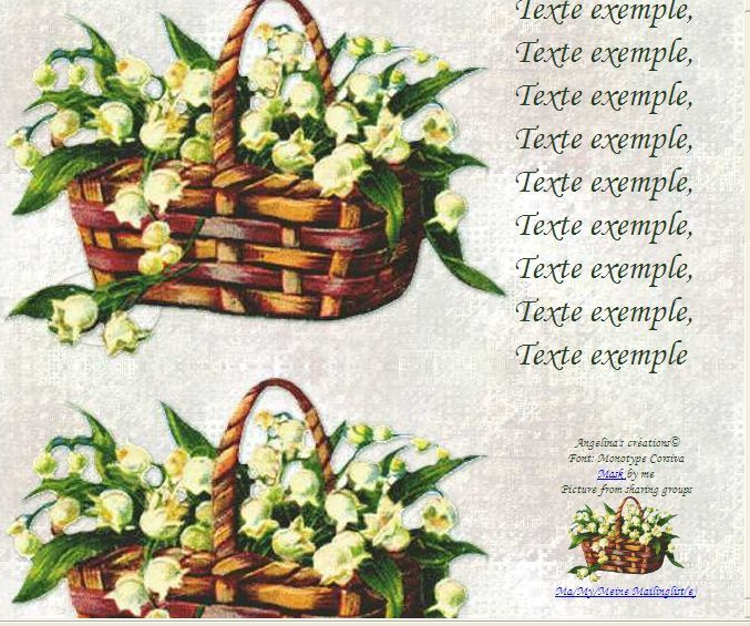 Muguet Panier de Incredimail &amp&#x3B; outlook &amp&#x3B; Papier A4 h l &amp&#x3B; enveloppe &amp&#x3B; 2 cartes A5 &amp&#x3B; signets 3 langues plus porte-bonheur fl_panier_de_muguets_cnay4sxa_00