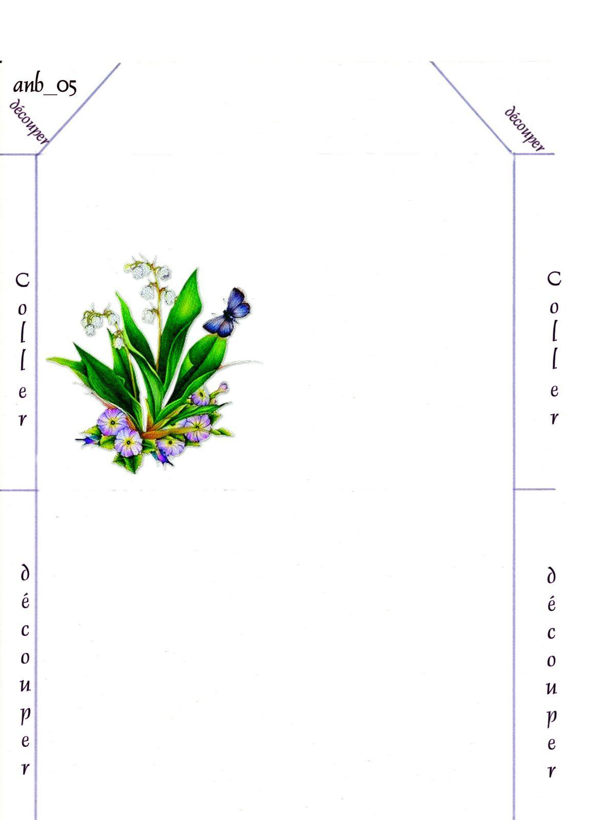 Enveloppe Muguet Papillon bleu