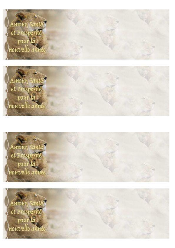 Amour, Santé et Prospérité pour la nouvelle année Incredimail &amp&#x3B; A4 h l &amp&#x3B; outlook &amp&#x3B; enveloppe &amp&#x3B; 2 cartes A5 &amp&#x3B; signets  amour_sante_nouvelle_annee_lionneavecpetit_image0033_00_leo