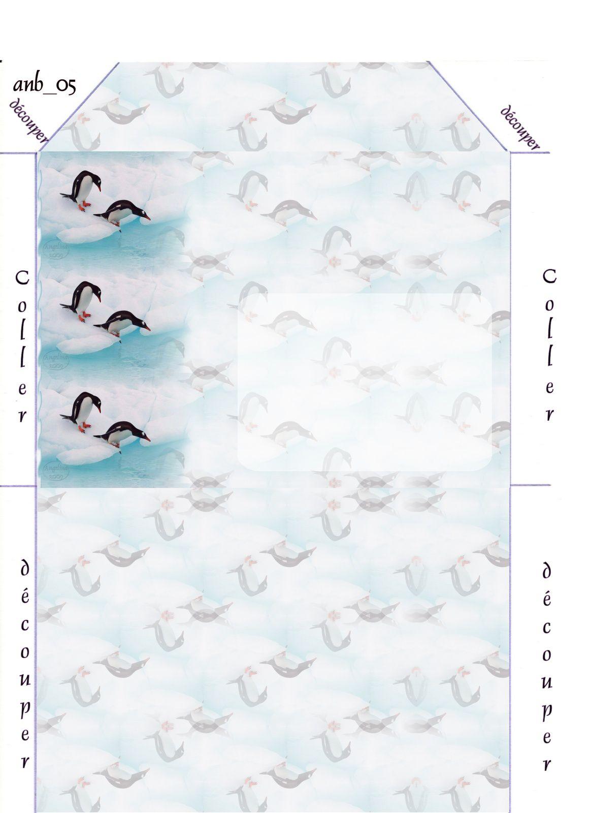 Pinguins Incredimail &amp&#x3B; Papier A4 h l &amp&#x3B; outlook &amp&#x3B; enveloppe &amp&#x3B; 2 cartes A5 &amp&#x3B; signets 3 langues    anm_micheline_animaux_07