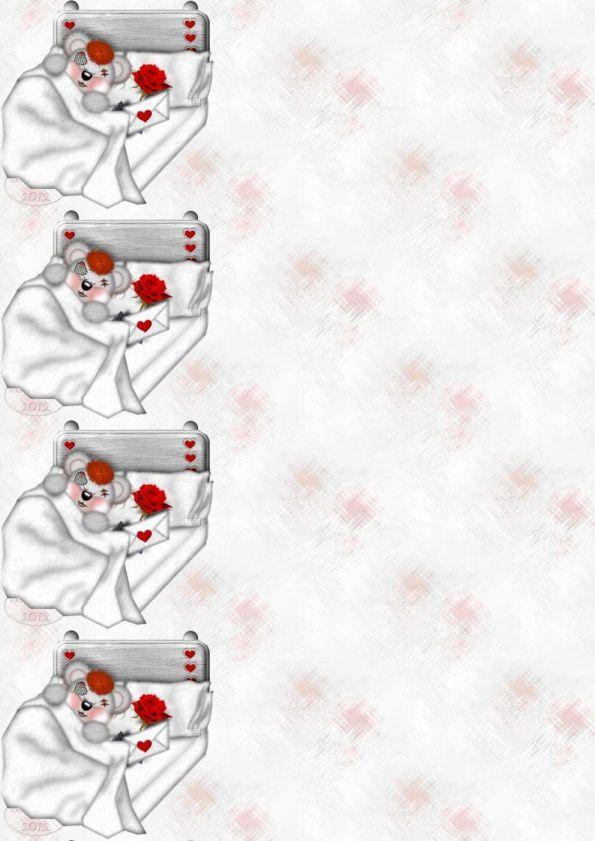 Nounours Creddy Lit Rose enveloppe Incredimail &amp&#x3B; A4 h l &amp&#x3B; outlook &amp&#x3B; enveloppe &amp&#x3B; 2 cartes A5 &amp&#x3B; signets 3 langues  nounours_creddy_litroselettre_00