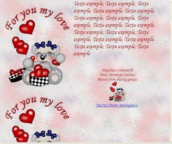 For you my love Creddy Coeur boite Incredimail &amp&#x3B; A4 h l &amp&#x3B; outlook &amp&#x3B; enveloppe &amp&#x3B; 2 cartes A5 &amp&#x3B; signets for_you_my_love_teddyboitecoeur