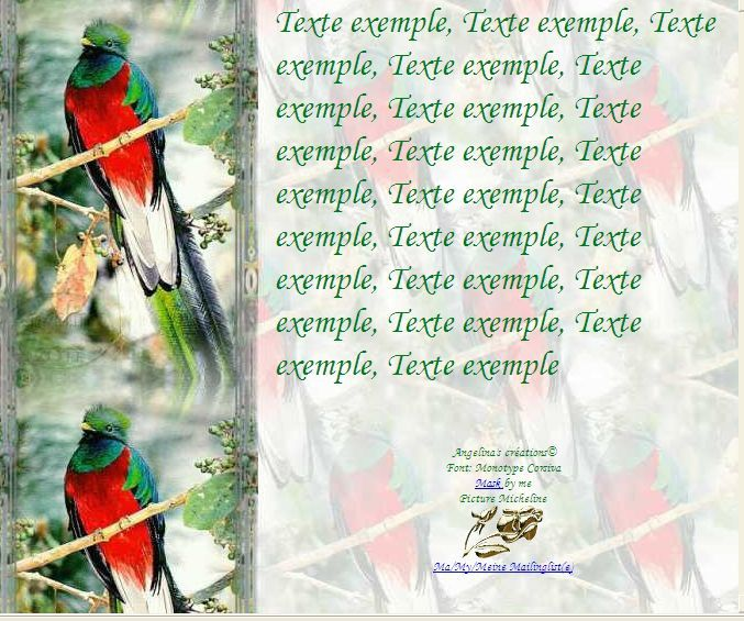 Quetzal Incredimail &amp&#x3B; Papier A4 h l &amp&#x3B; outlook &amp&#x3B; enveloppe &amp&#x3B; 2 cartes A5 &amp&#x3B; signets 3 langues     ois_quetzal5_00_micheline
