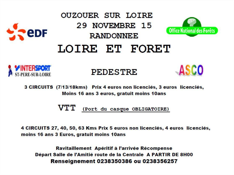 29 Novembre 2015 - Randonnée VTT &quot&#x3B;Entre Loire et Forêt&quot&#x3B;