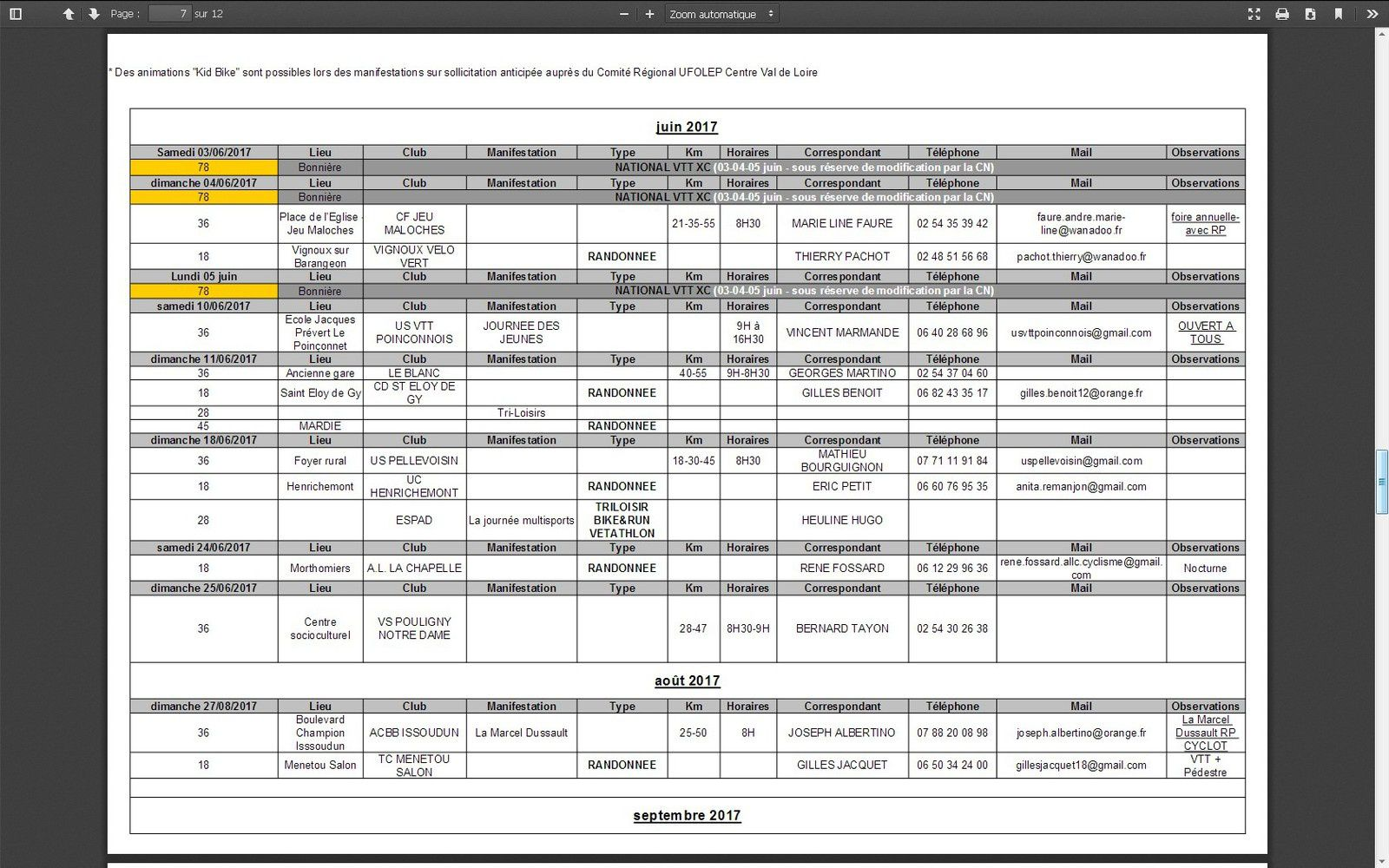 Calendrier XC VTT LOIRET 2016-2017
