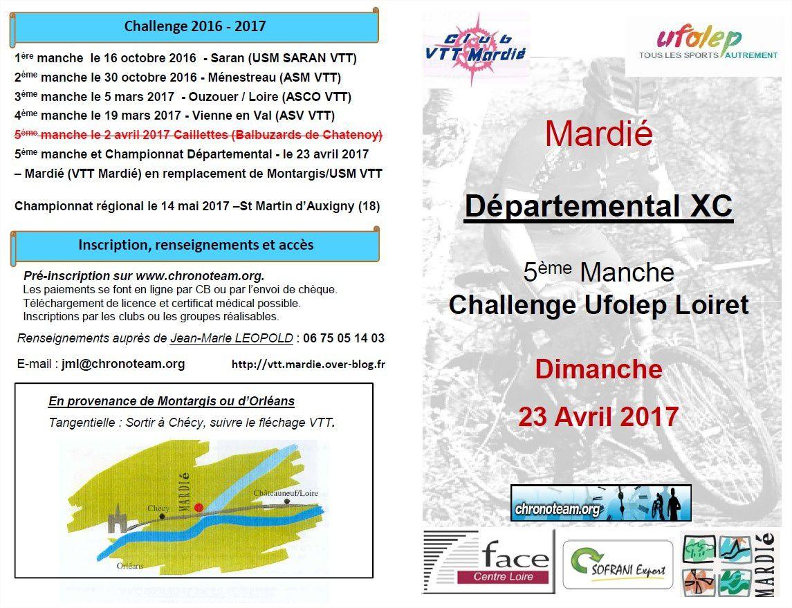 DEPARTEMENTAL XC UFOLEP LOIRET - 23 AVRIL 2017 - Mardié