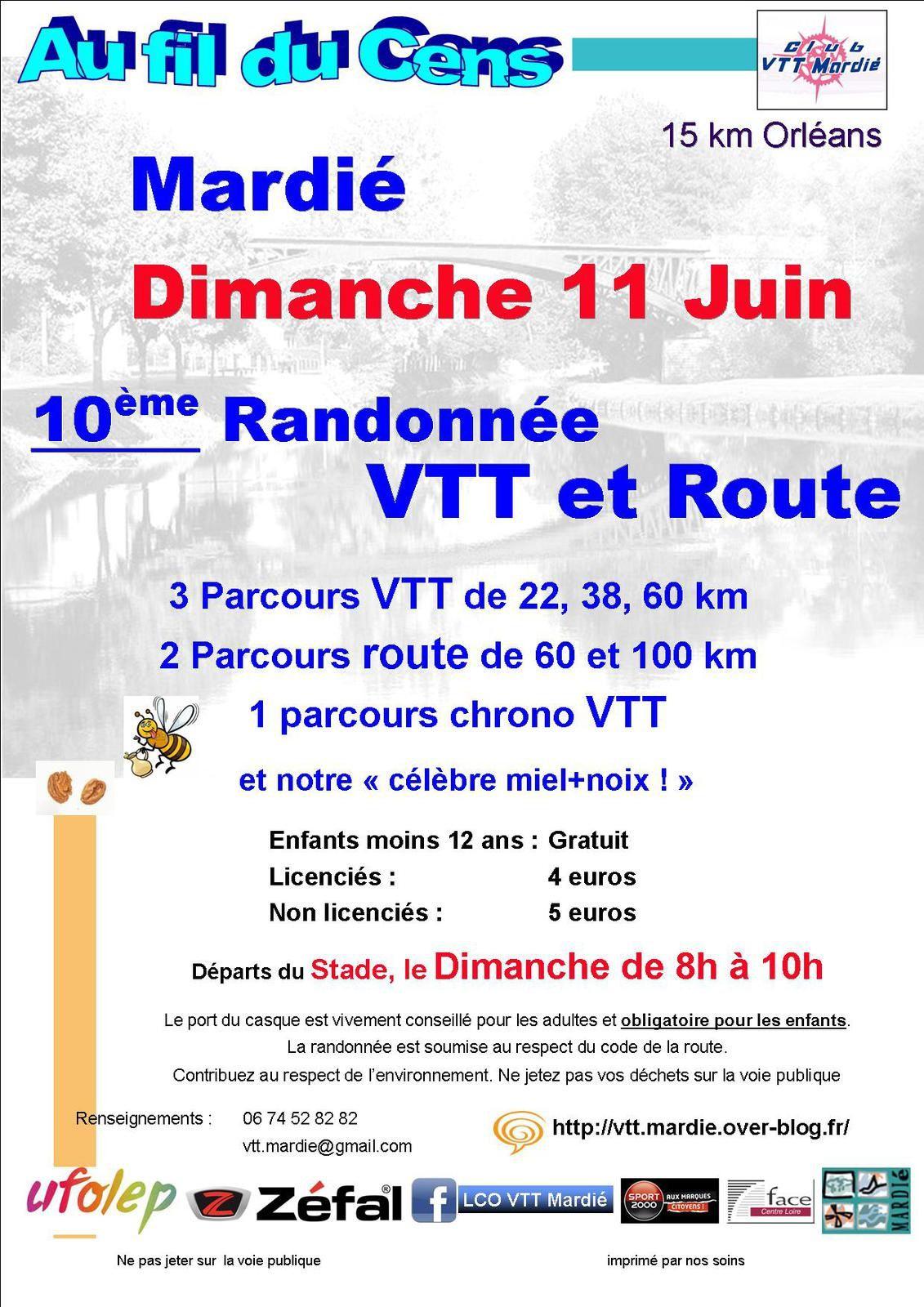 Randonnée VTT et ROUTE - Au fil du Cens - 10 ème édition - Mardié - 11 Juin 2017