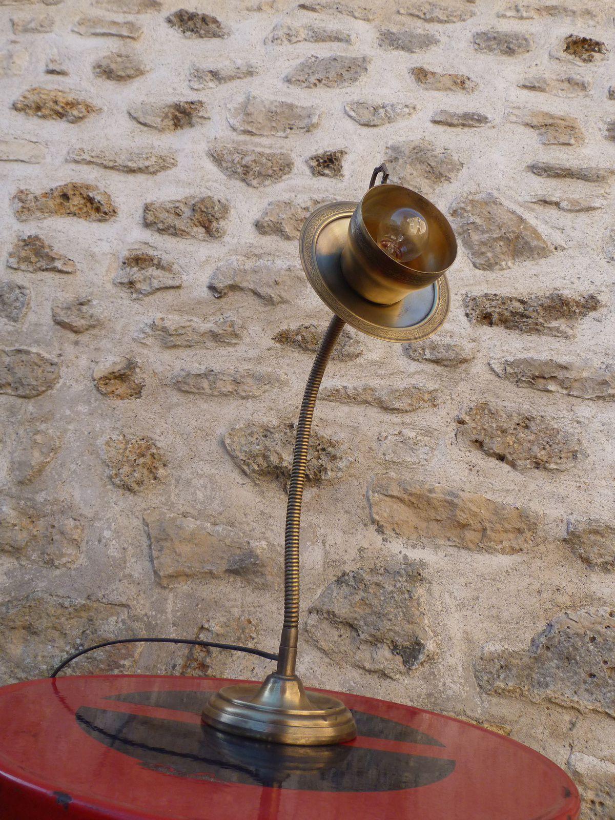 Lampe vintage flexible laiton &quot&#x3B;Do you want a cup of tea ?&quot&#x3B;