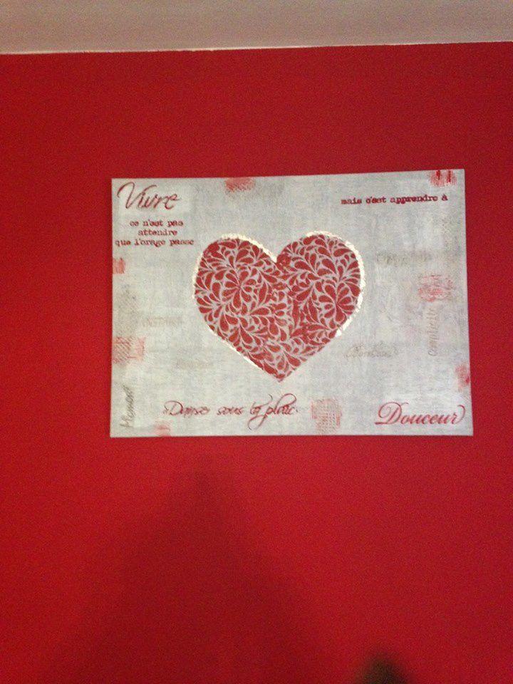Toile &quot&#x3B;Coeur rouge &quot&#x3B;