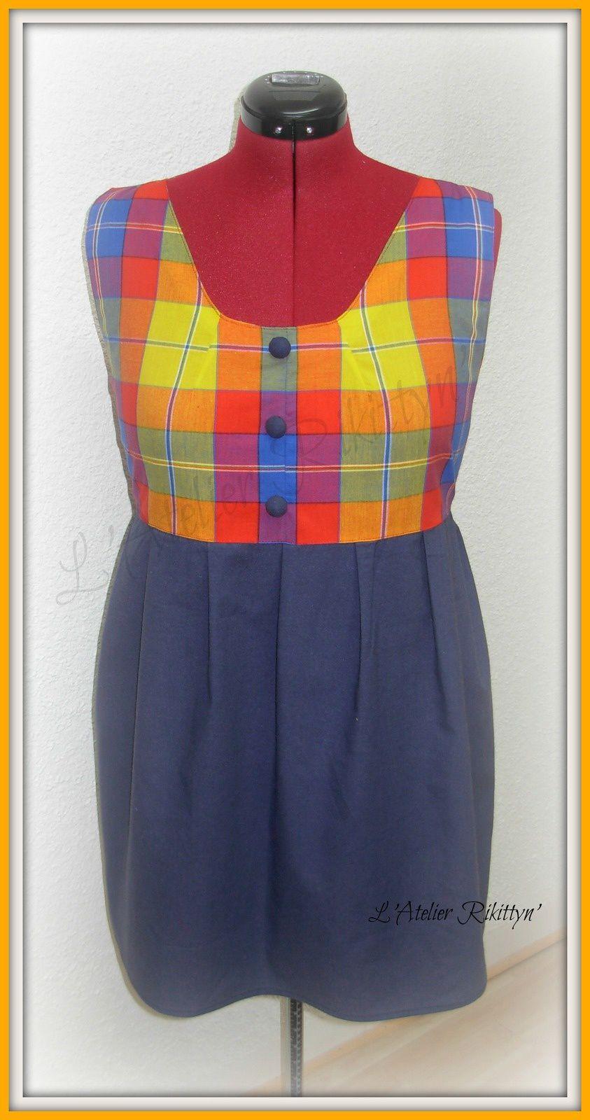 2014.03.17 - Robe bicolore en coton madras et coton uni