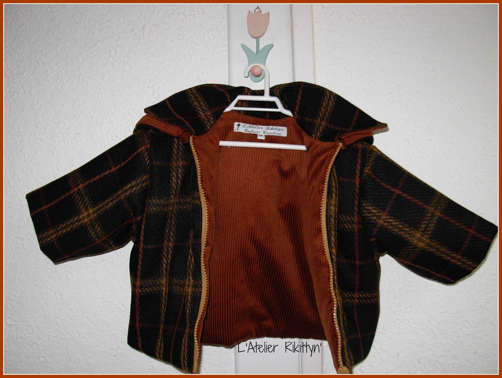 2013.12.15 - Veste à capuche amovible pour bébé garçon : lainage à carreaux, velours et molleton