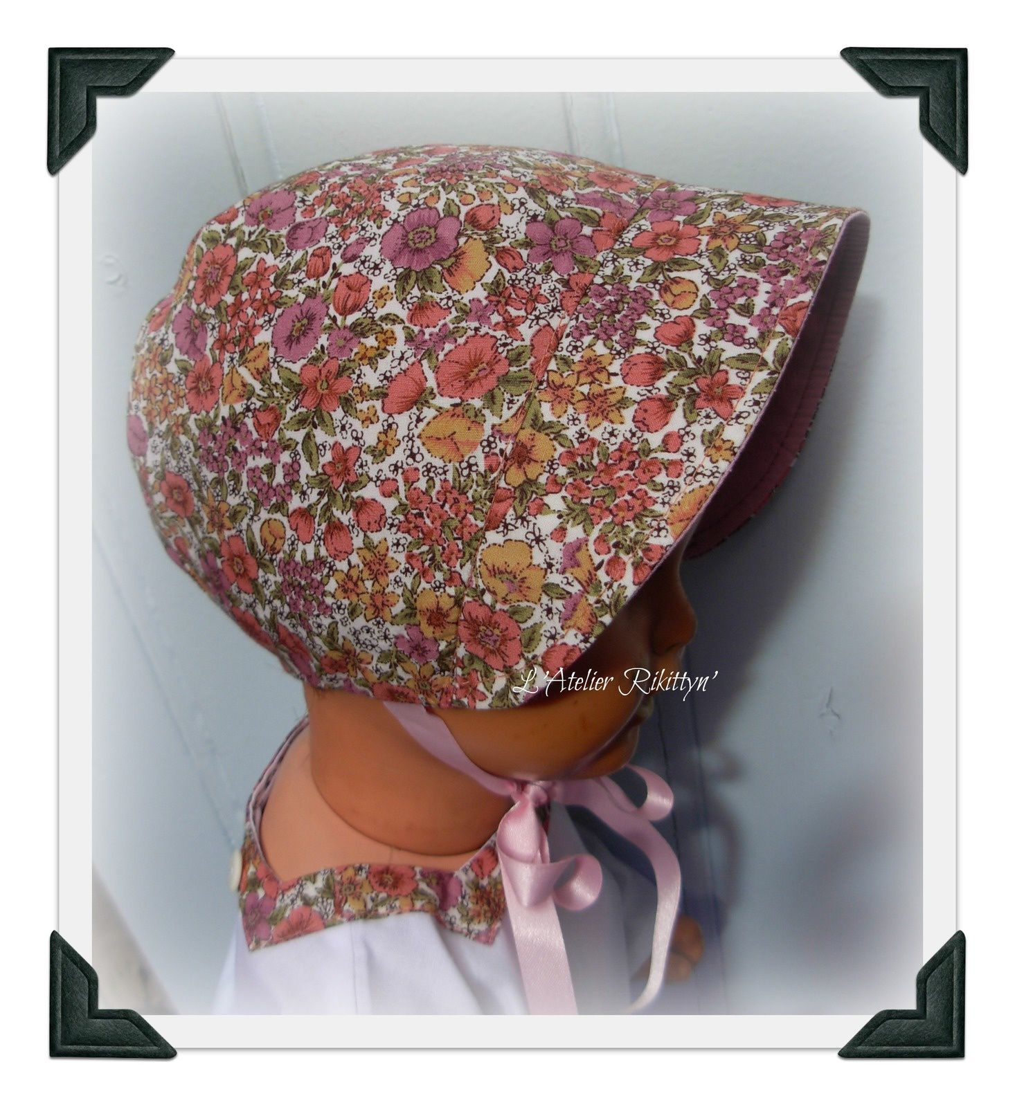 2012.05.20 - Ensemble brassière, bloomer, bonnet et ballerine en coton imprimé liberty et conton uni blanc