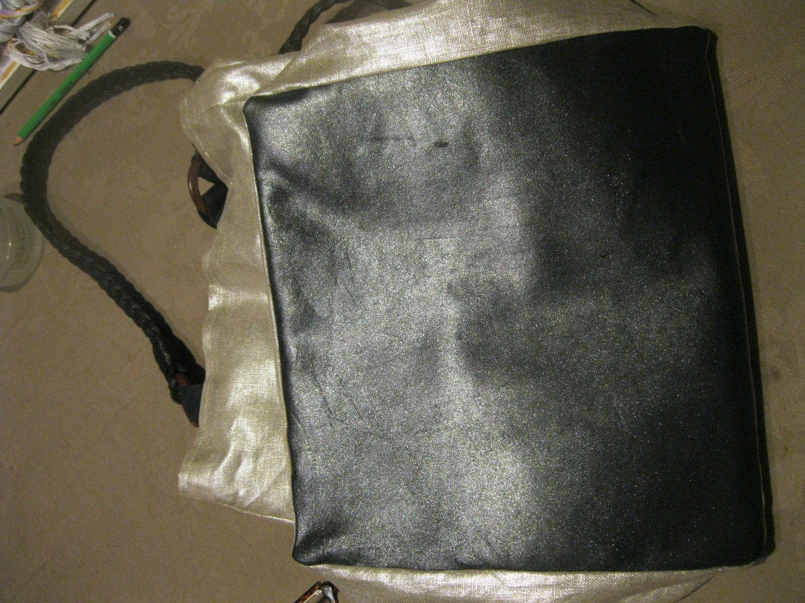 Sac cuir et lin métallisé