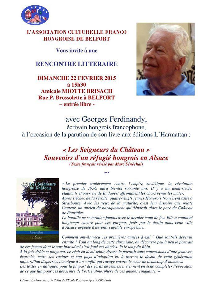 Rencontre littéraire avec Georges Ferdinandy le 22 février à Belfort