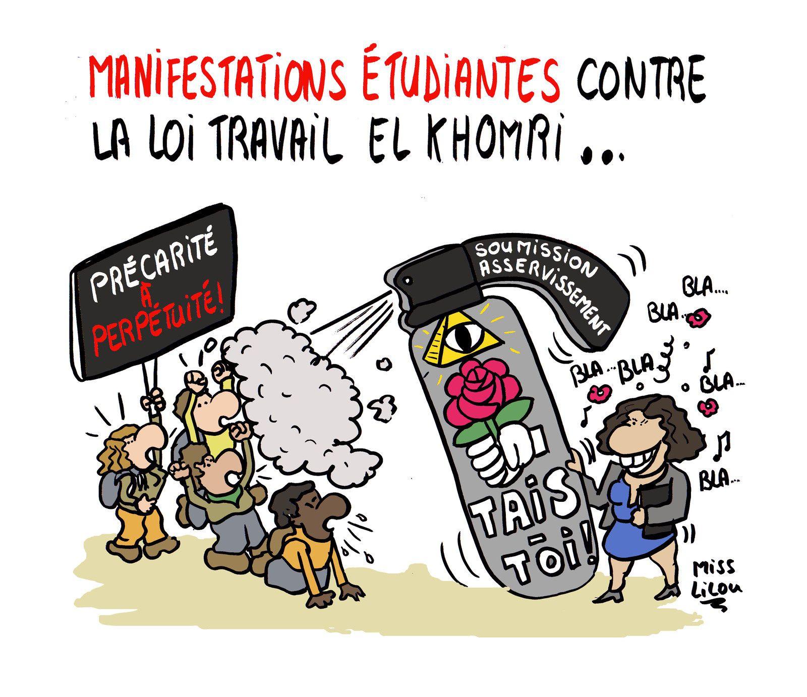 Manifestations étudiantes contre la Loi Travail El Khomri...
