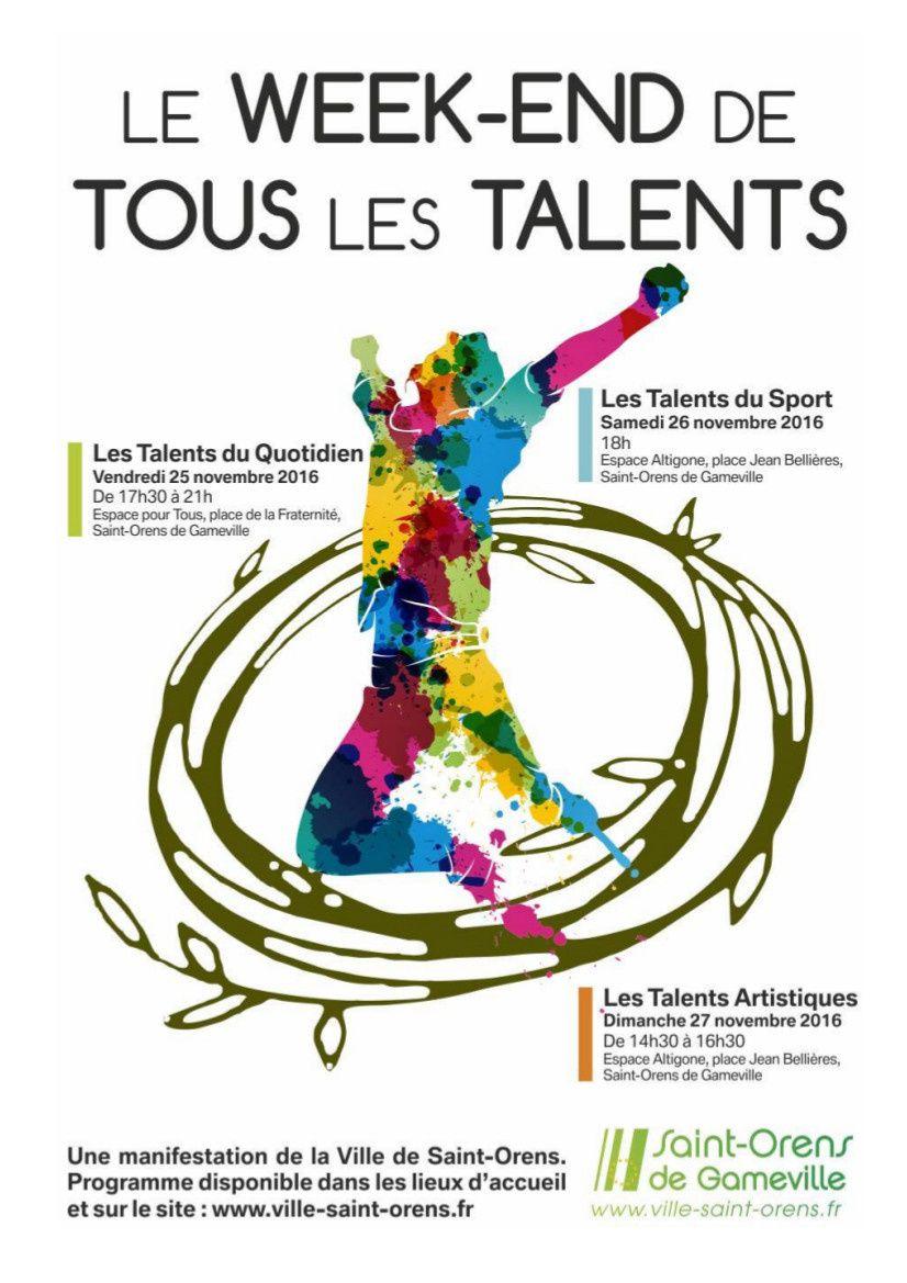 J'exposerai mes dessins au Week-end de Tous les Talents de Saint-Orens de Gameville ( Talents du Quotidien, Talents du Sport et Talents Artistiques).  Merci à la Mairie de Saint-Orens de Gameville pour cette initiative originale ! Espace Altigone, le dimanche 26 novembre 2016