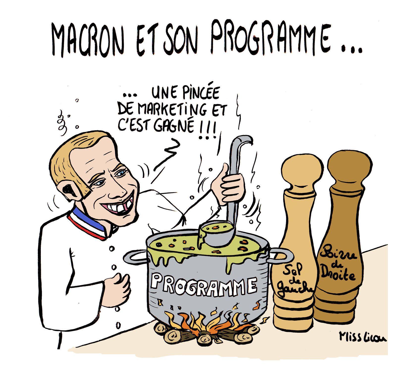Emmanuel macron et son programme politique dessins for Cuisinier humour