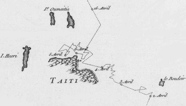 Bougainville, avril 1768 approche de Tahiti