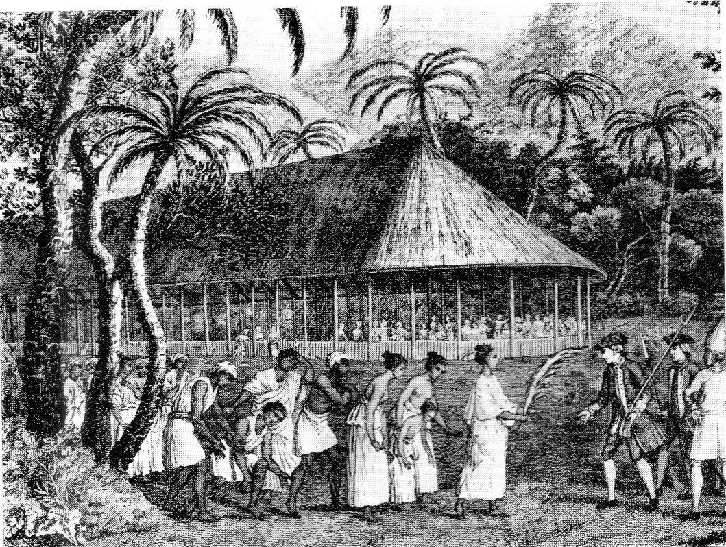 Scène représentant Wallis à Tahiti