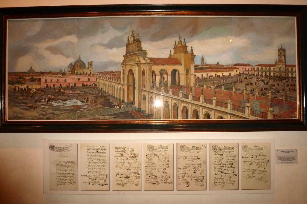 Attaque du Cabildo le 25 mai 1822 . le Cabildo à droite du tableau . toute la partie centrale du tableau n'existe plus