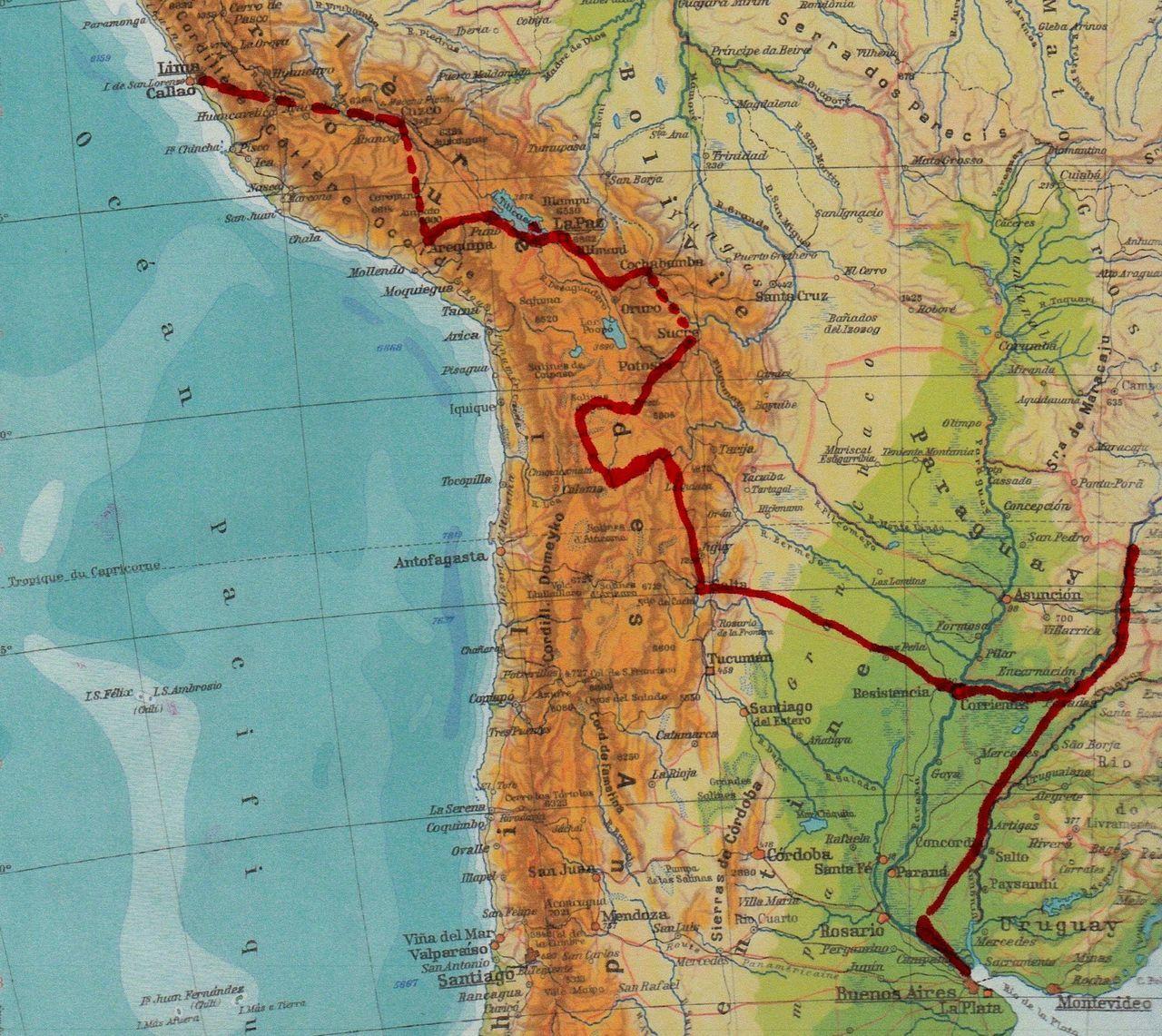 9 semaines en 2014 : départ de Buenos Aires jusqu'à Lima au Pérou en traversant la Bolivie
