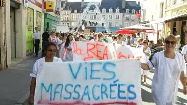 Manifestation contre la fermeture du service réanimation
