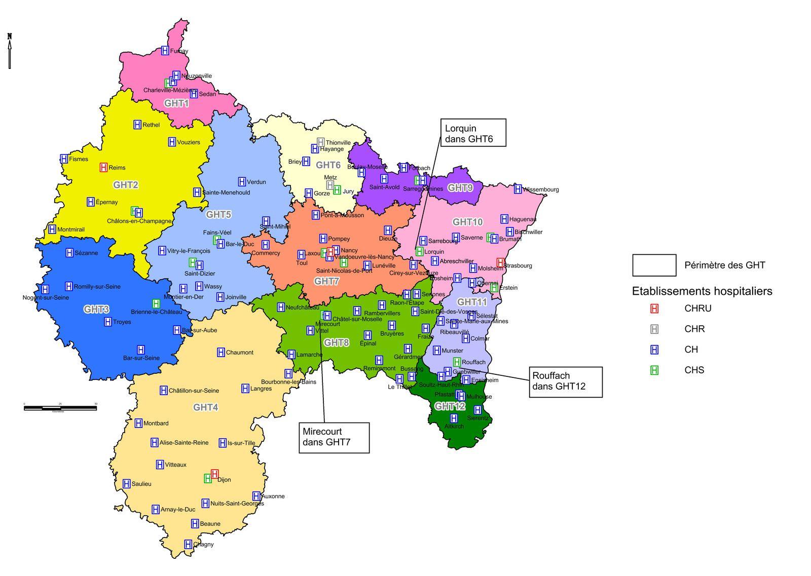 Groupements hospitaliers de territoires en région Grand Est