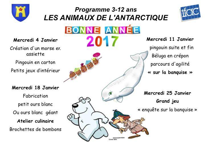 Centre de loisirs : programme de janvier 2017