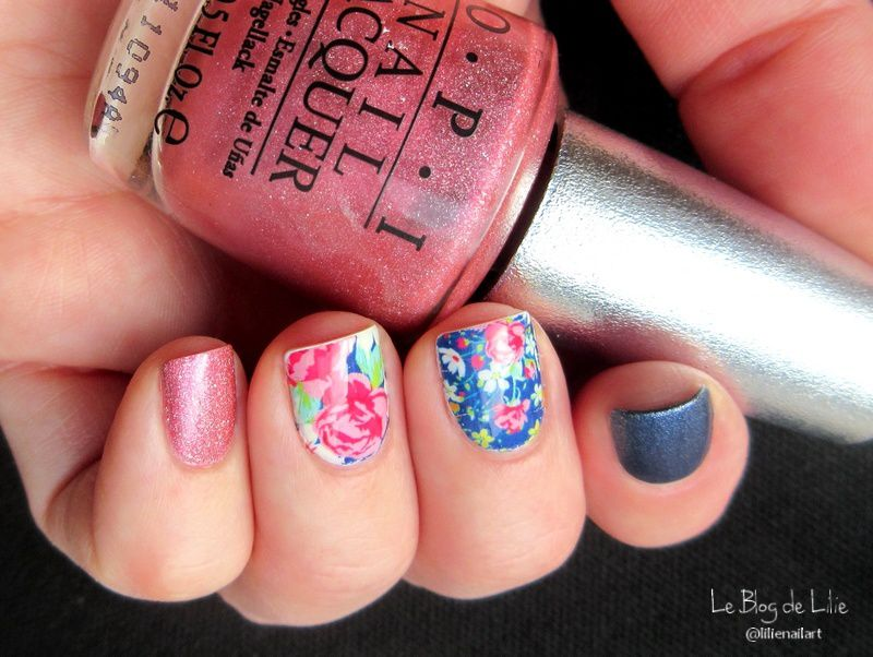 Nail Art Shabby Chic Navy - Lucky Rose