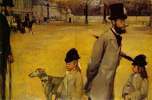 "Place de la Concorde or Viscount Lepic and his Daughters Crossing the Place de la Concorde or Ludovic Lepic and his Daughters "" d'Edgar Degas ( 1875)"