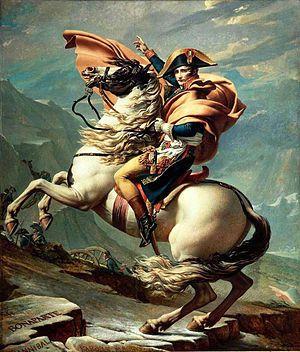 """ Napoleon Crossing the Alps (also known as Napoleon at the Saint-Bernard Pass or Bonaparte Crossing the Alps)de Jacques-Louis David (1801 et 1805)"