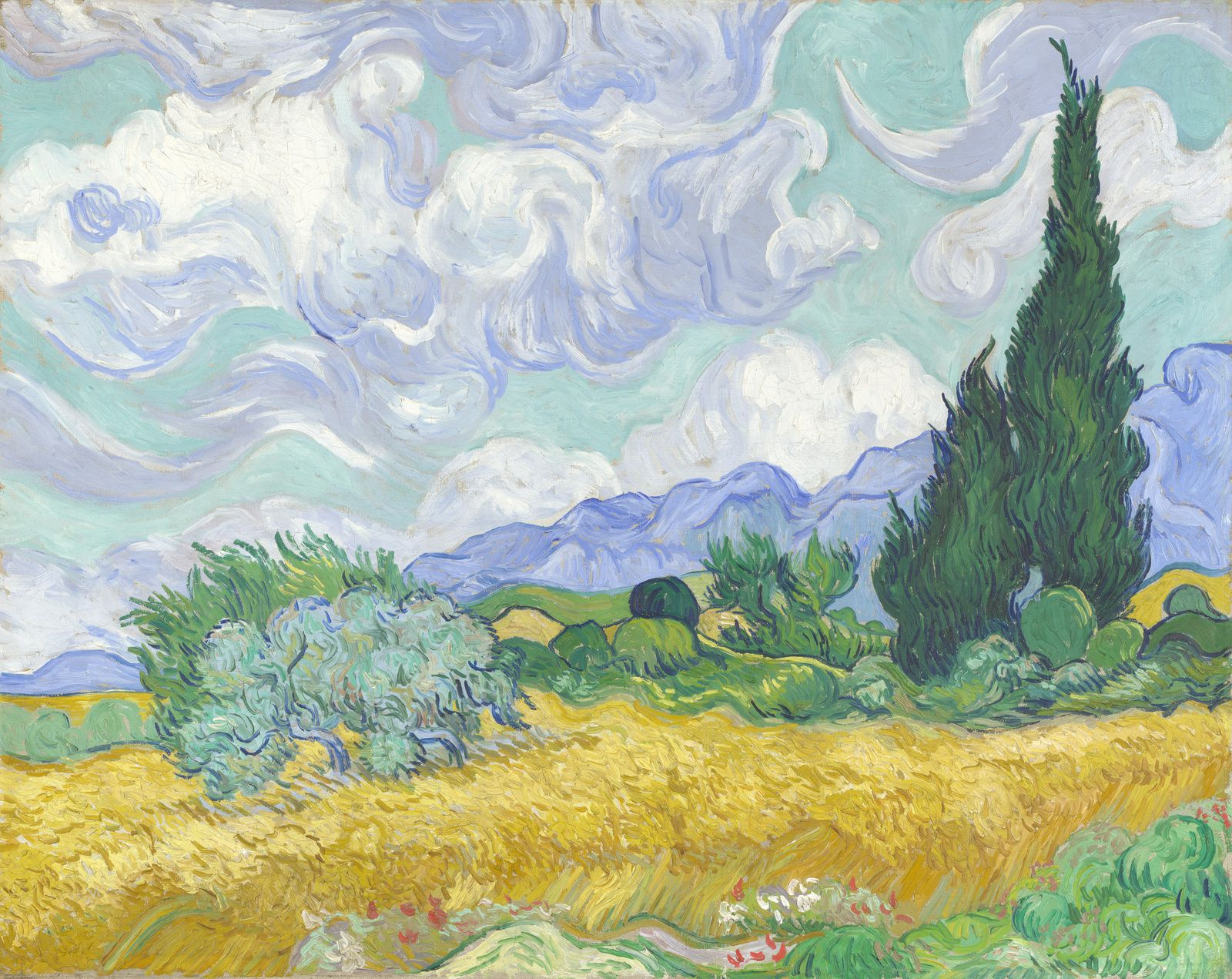 """A Wheatfield with Cypresses"" ( 1889) Vincent van Gogh."
