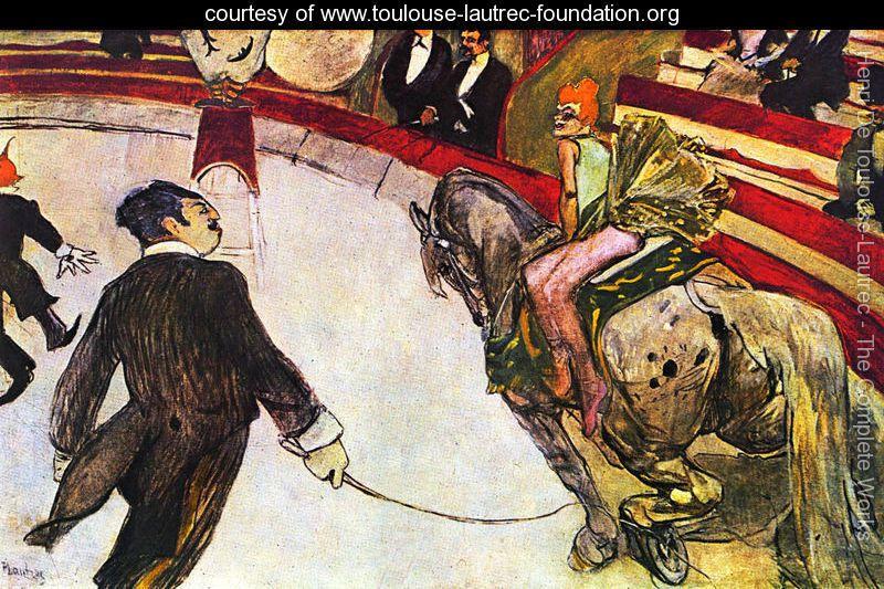 """"""" At the Circus Fernando, the rider""""(1887–1888) de Henri de Toulouse-Lautrec"""