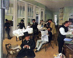 """ A Cotton Office in New Orleans "" d'Edgar Degas (1873 )"