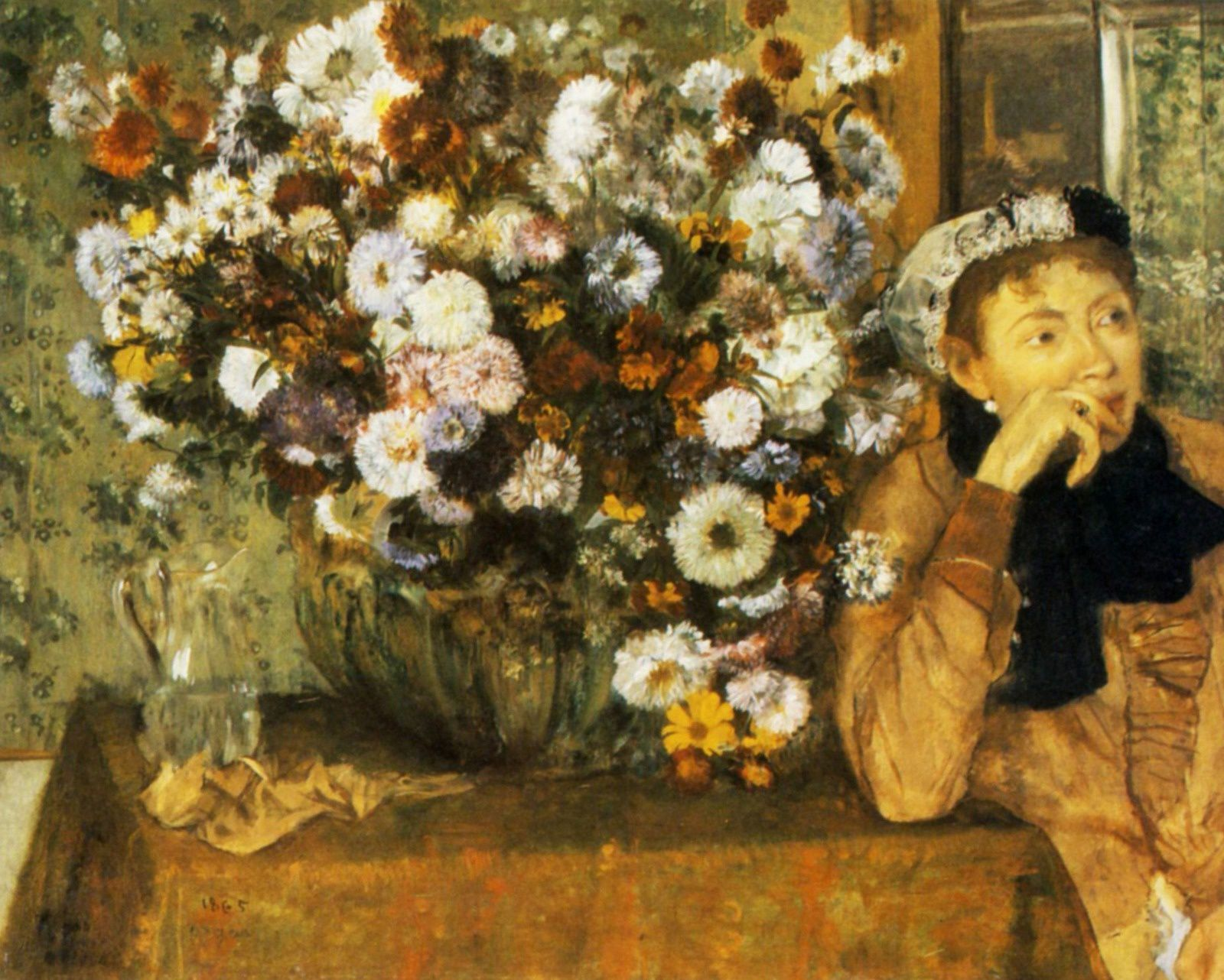 Femme assise à côté d'un vase de fleurs (1865) de Edgar Degas