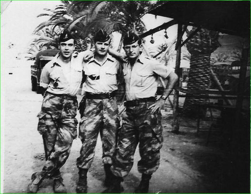 De gauche à droite, Michel Robert mort pour la France le 05/02/1958, Nayrolle René, Sorrentino Jacques tous trois en mission au PC de Bournazel.1958