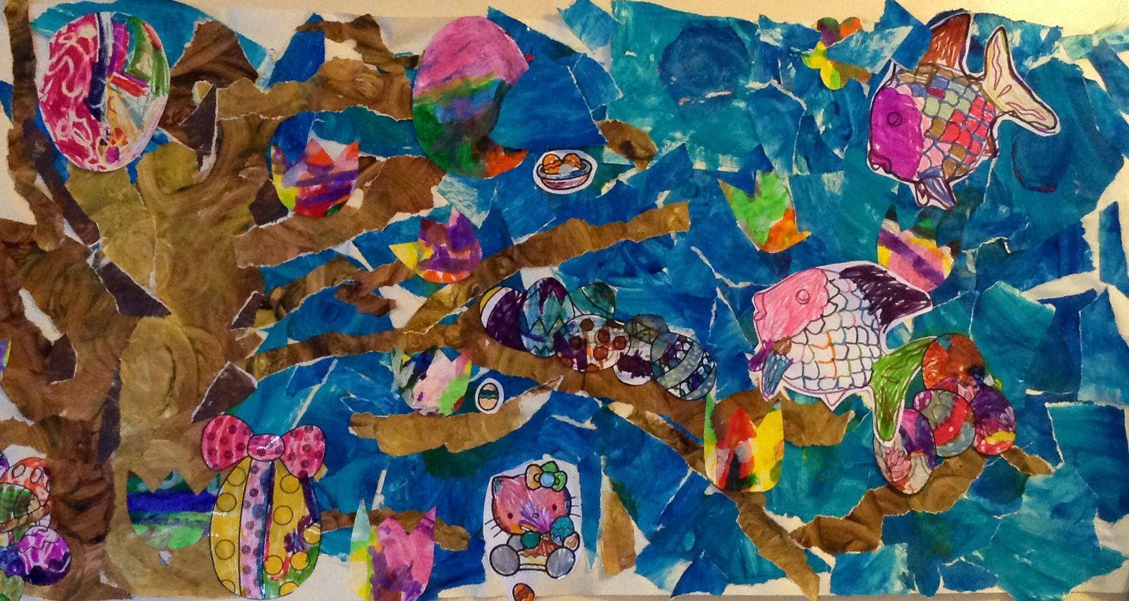 la chasse aux oeufs de Paques (collage, peinture et coloriage réalisé par des enfants de 3 et 4 ans)