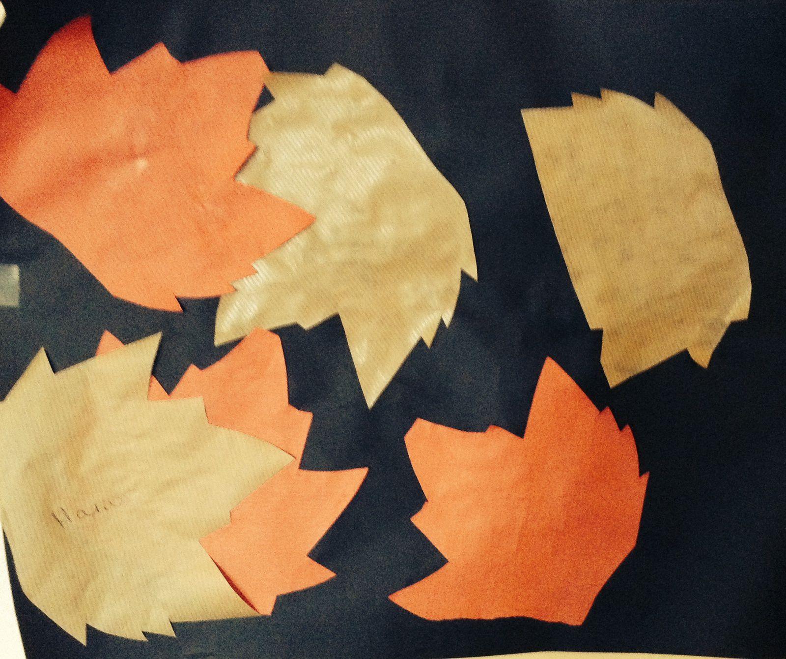 collages réalisés par un enfant de 2 ans et demi, de 3 ans et demi et de presque 3 ans. En bas, on peut aussi réunir tous les tapis de feuilles des enfants pour créer une fresque.