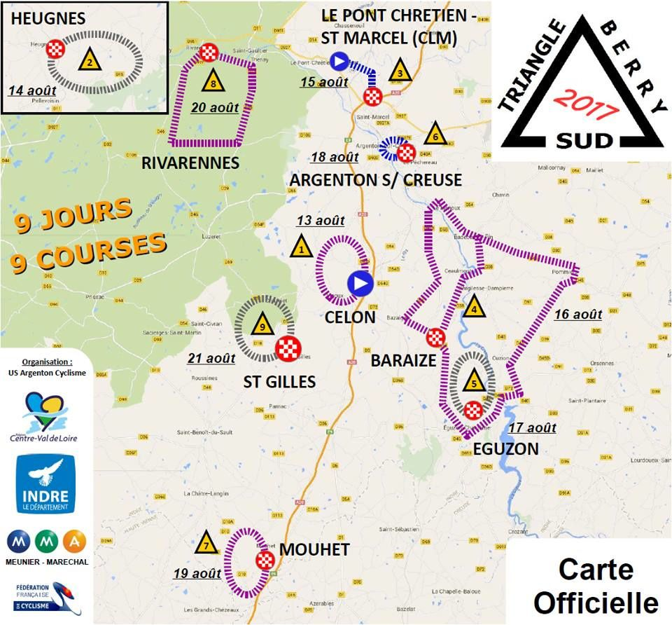 La carte officielle du Triangle Sud Berry 2017