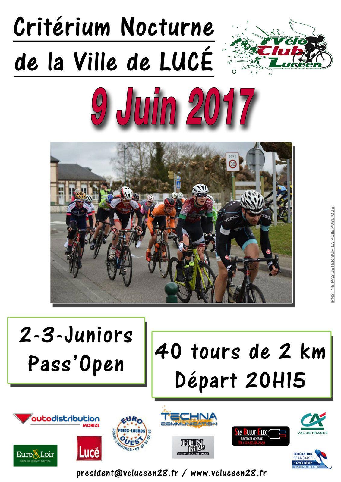 Les critériums en nocturne au mois de juin 2017 en Eure et Loir