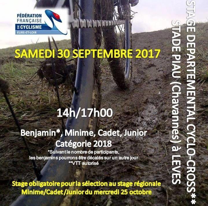 Stage départemental de cyclo-cross du 30 septembre à Lèves avec 8 jeunes du Dreux CC