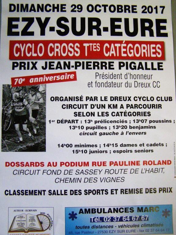 L'affiche du cyclo-cross d'Ezy sur Eure (27) le dimanche 29 octobre pour les 70 ans de Jean-Pierre Pigalle