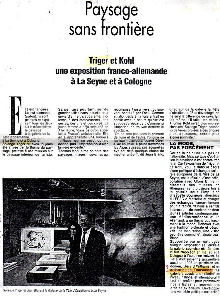 On notera que l'article parle d'une future expo de Jean-Pierre Ransonnet, visité à Tilff par Jean Blanc. Il n'en sera plus jamais question