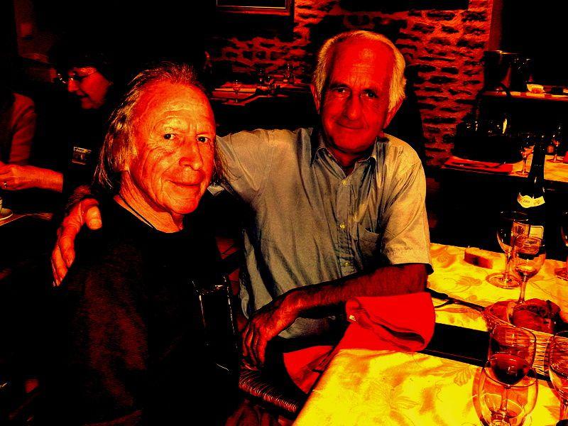 Christian Vancau et le Maire de Commarin, Michel Raffeau, au resto Le Gril du Castel à Châteauneuf en Auxois, Bourgogne, ce mardi 2 septembre 2014