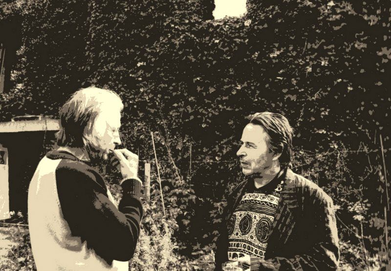 In fine Vital Lahaye et moi. Juste avant les sculptures offertes mar Michèle Laveaux, la compagne de Vital