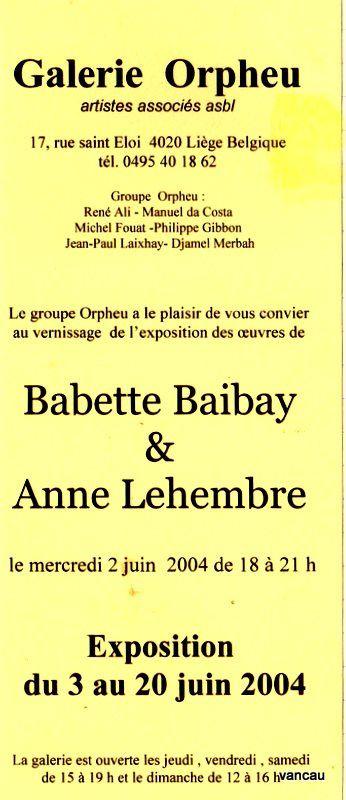 Bio 297 - Juin 2004- Suite des travaux de la Galerie