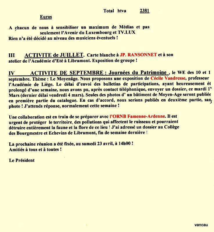 Bio 306 - Mars 2005. Réunion Menuhin à la Converserie