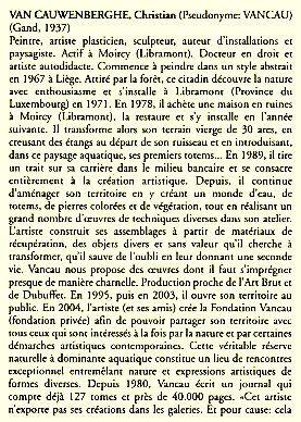 Vancau dans le Dictionnaire des artistes plasticiens de Belgique des 19e et 20e siècles